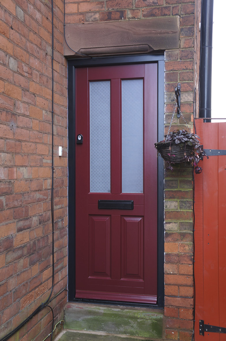 Heale red entrance front door etched glass