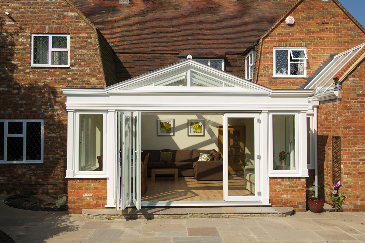 bifold timber doors orangery exterior white five panel side door