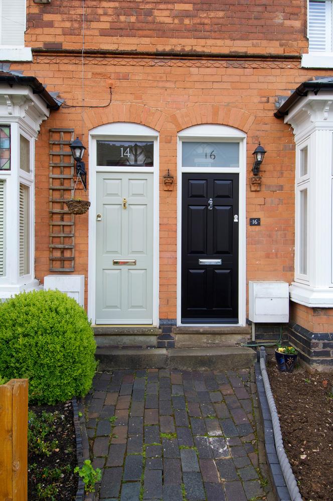 contrasting front entrance doors light dark brass chrome furniture top light