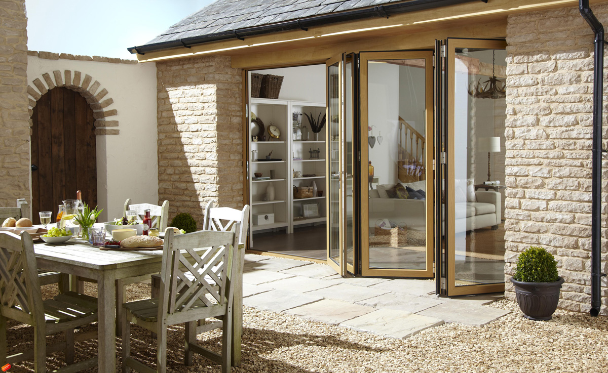 five panel aluminium bifold doors barn exterior
