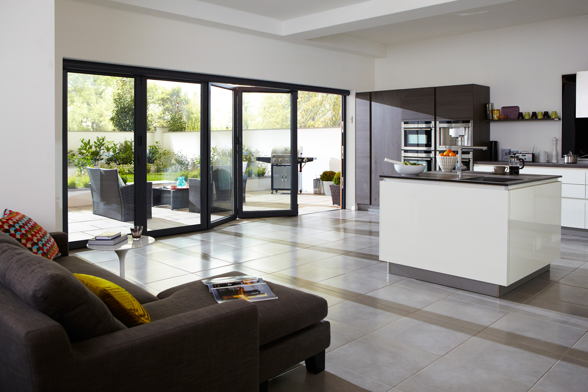 five panel aluminium bifold doors kitcher interior