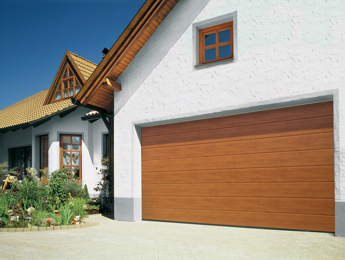 golden oak double sectional garage door