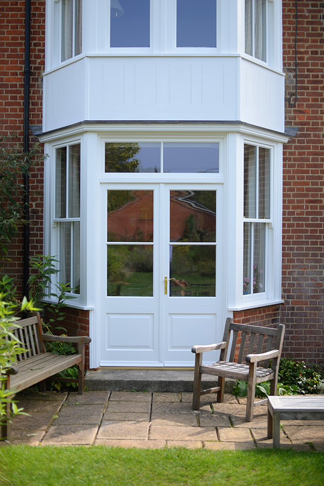 timber french entrance door sash bay top light