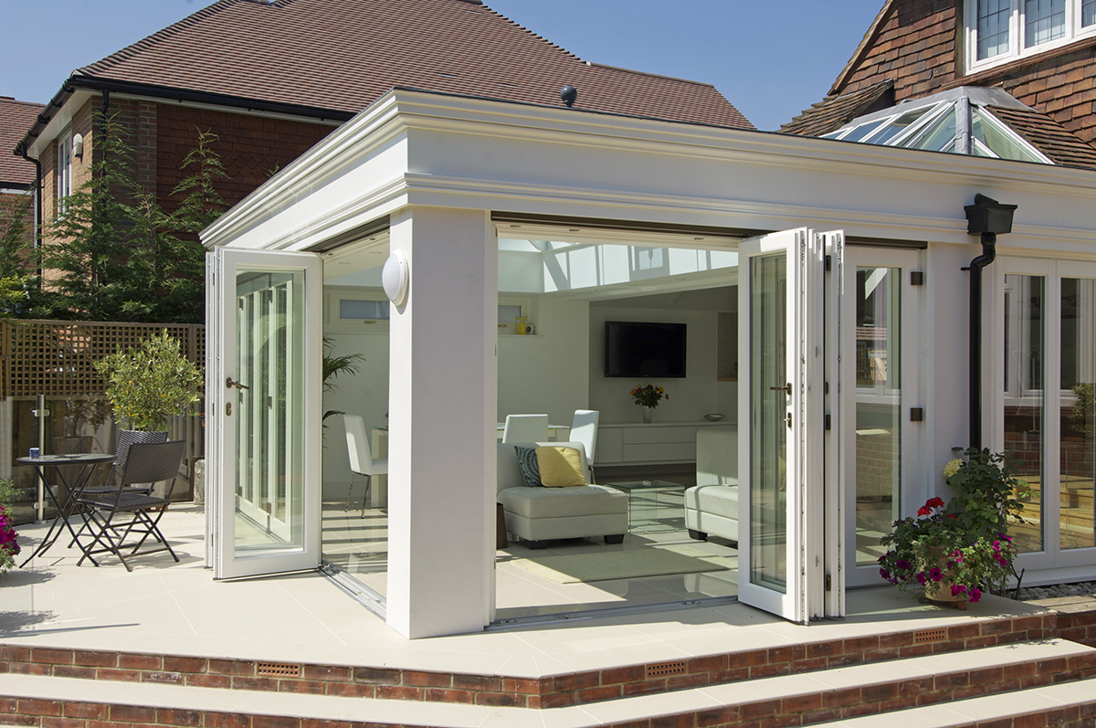 timber orangery bifold doors roof lantern Lillington