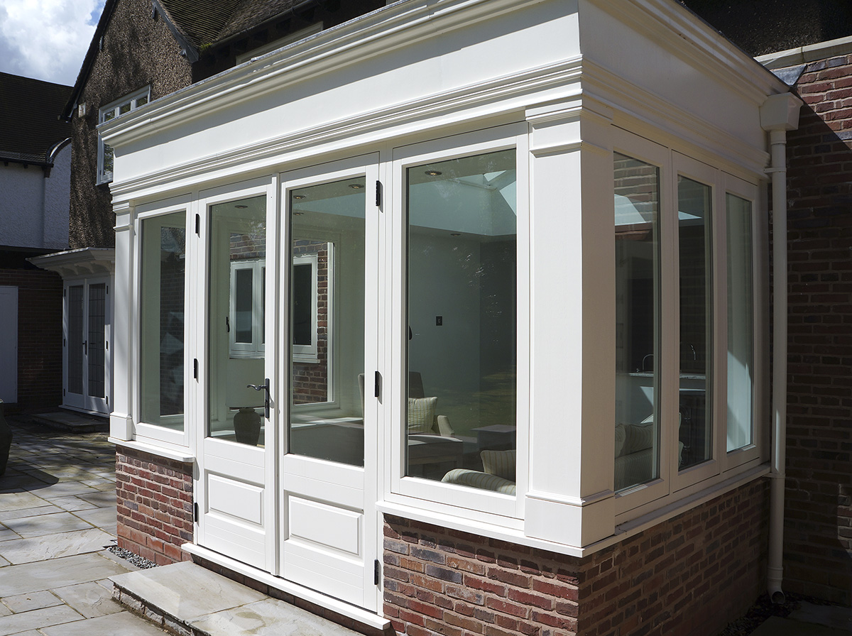 timber orangery french door side light casement window Royal Leamington
