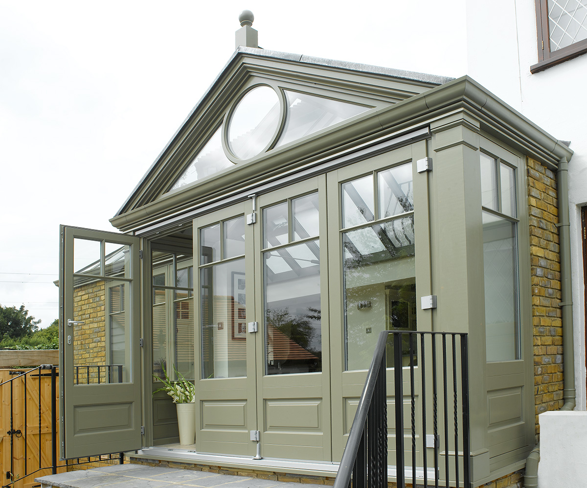 timber orangery french doors glazing roof lantern casement window Leamington