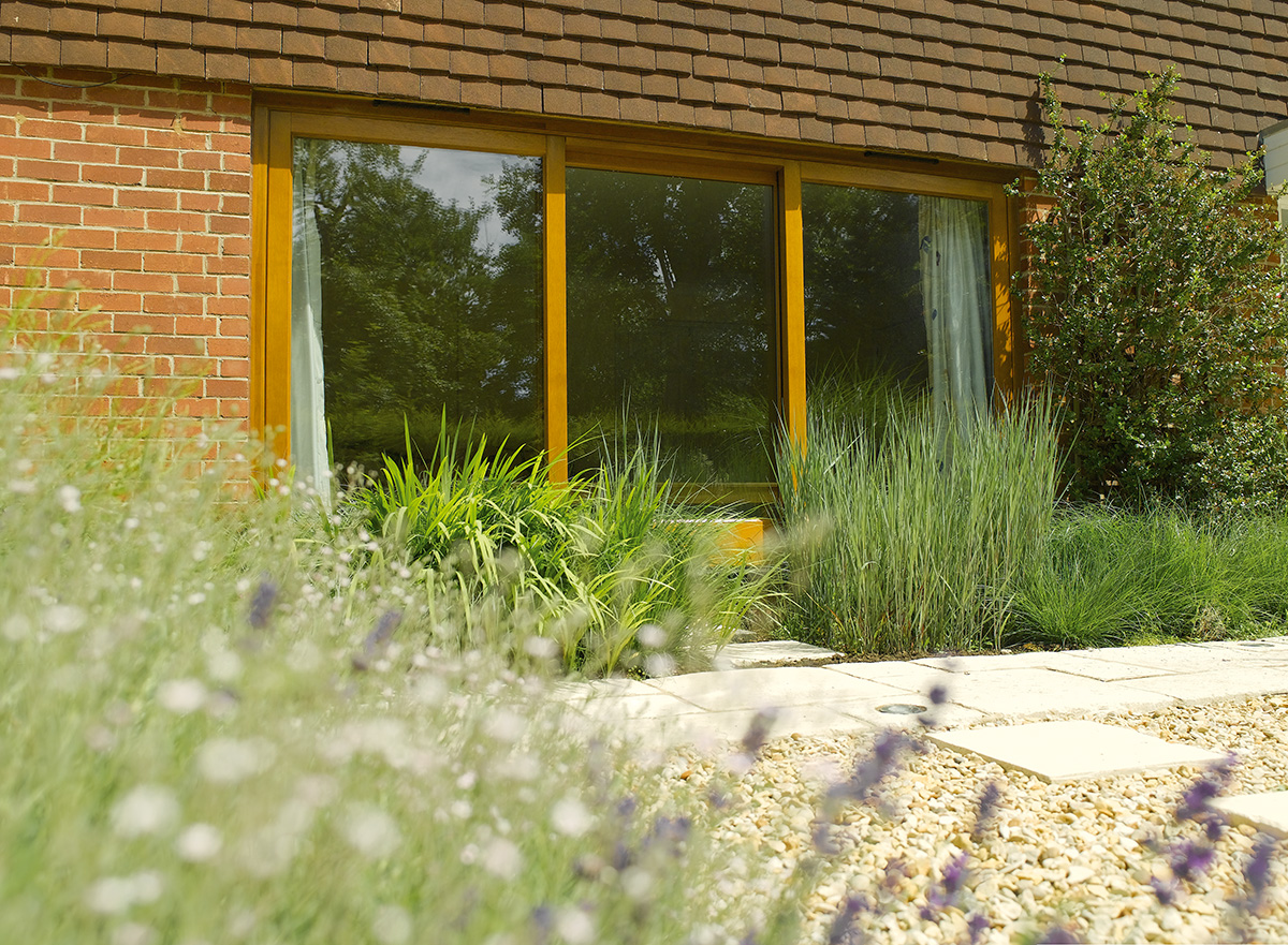 timber patio sliding doors oak stain exterior